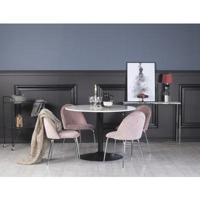 Plaza matgrupp, marmorbord med 4 st Plaza sammetsstolar - Rosa/Krom/svart