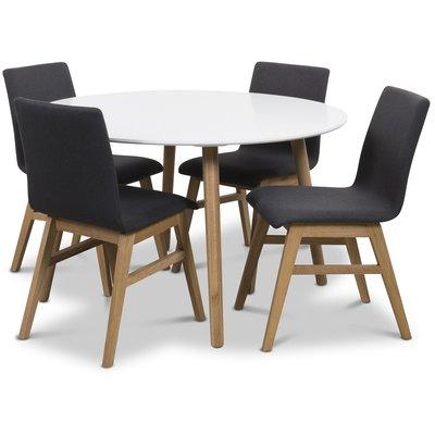 Rosvik matgrupp Runt bord vit/ek med 4 st Molly stolar ek / Mörkgrå