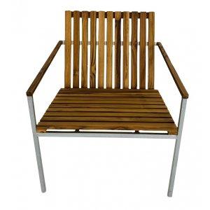 Alva stol - Galvaniserad metall/teak