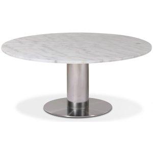 Next runt soffbord i marmor D105 cm - Borstad stål / Marmor (Vit)