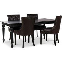 Paris matgrupp svart bord med 4 st Tuva Eastport stolar i brun PU