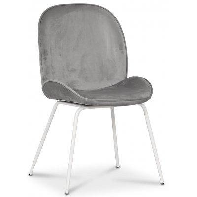 Leo stol - Grå (Sammet)/vit
