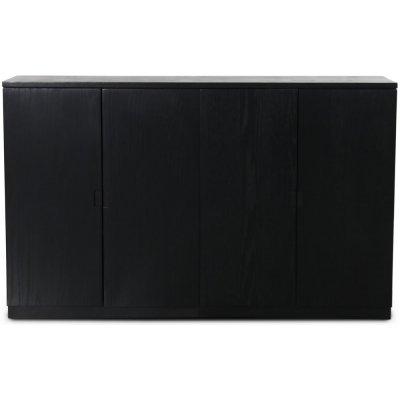 Level sideboard med släta dörrar B140 cm - Svart