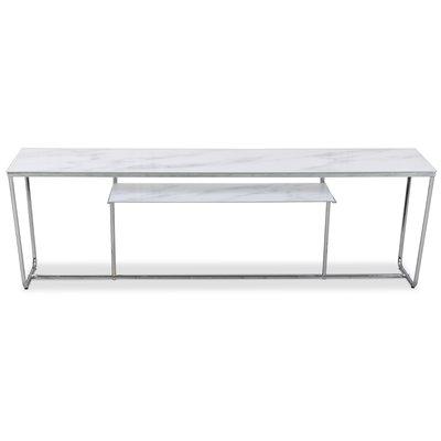 Stella mediabänk - Vit marmorerat glas / Kromat underrede