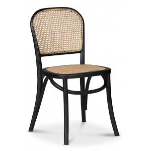 Indiana böjträ stol - Svart med rottingsits