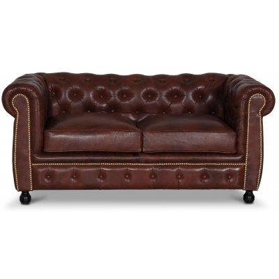 Chesterfield Old England 2-sits soffa - antikbehandlat skinn