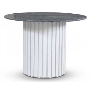 Empire matbord - Grå marmor / Vit lamell träfot