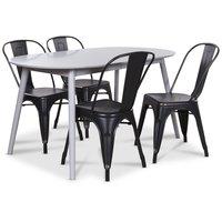 Göteborg matgrupp grått ovalt bord med 4 st Industry Plåtstolar - Grå / Svart Guld
