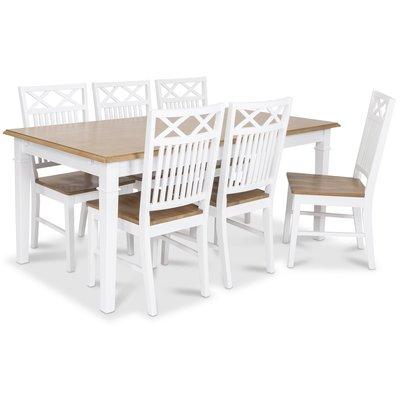 Ramnäs matgrupp - Bord inklusive 6 st Herrgård Gripsholm stolar i ekbets - Vit/ekbets