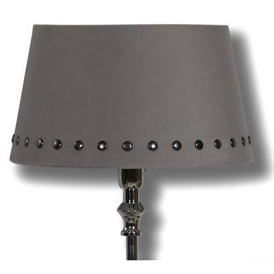 Velvet lampskärm med nitar 33 cm - Grå / Rökfärgat