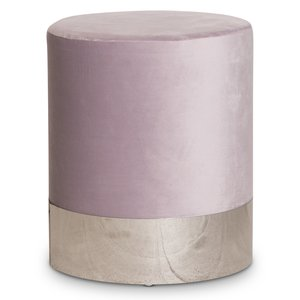 Puffa fotpall cylinderformad - Ljuslila/Silver