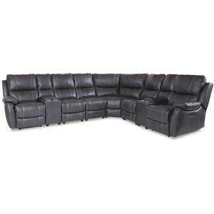 Enjoy recliner-hörnsoffa - 6-sits (el) i grått konstskinn (modell V)