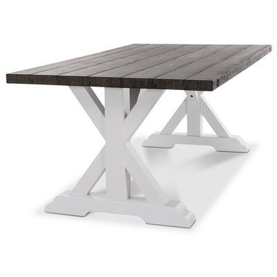 Provence matbord 230 cm - Vit / Brun