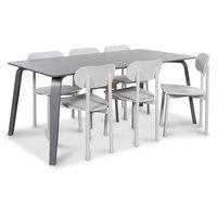 Visby matgrupp, 180 cm grått bord med 6 st Alvaro matstolar