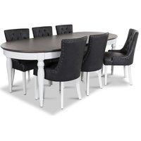 Hampstead matgrupp, bord med 6 st Tuva stolar i svart PU