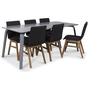 Visby matgrupp, 180 cm grått bord med 6 st Molly matstolar i mörkgrått tyg med ekben