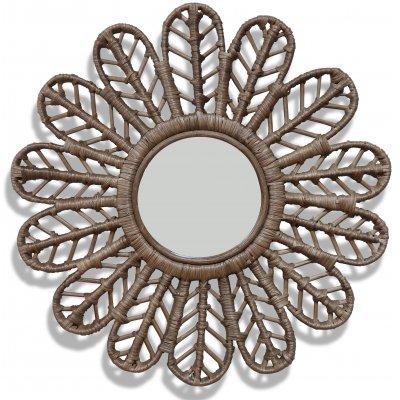Peacock spegel i rotting Ø60 cm - Brun