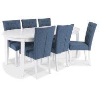 Sandhamn Matgrupp Ovalt bord med 6 st Crocket stolar i Blått tyg