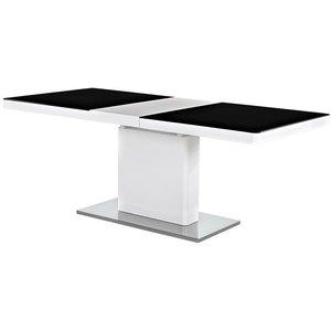 Matbord Hutchinson 160-200 cm - Vit/svart