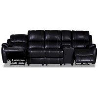 Enjoy Chicago reclinersoffa - 4-sits (el) i svart konstläder (modell H)