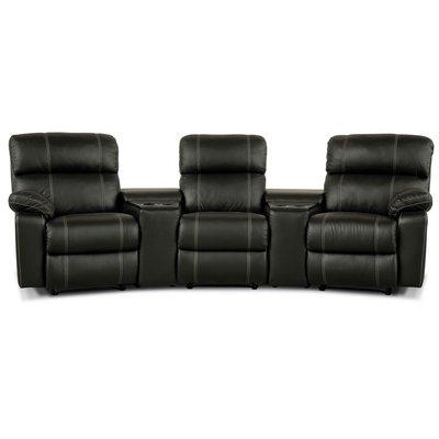 Berömda Leo biosoffa med 3-sits recliner och hållare - Svart skinn - 16990 HN-92
