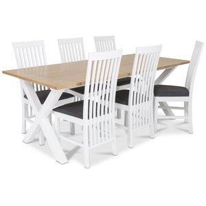 Isabelle matgrupp - Bord inklusive 6 st Vindö stolar med grå sits - Vit/ekbets