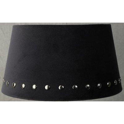 Velvet lampskärm med nitar 25 cm - Svart / Rökfärgat