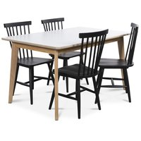 Holger matgrupp 140 cm bord med 4 st svarta Karl pinnstolar