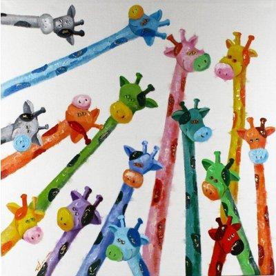 Tavla oljemålning 90x90 cm - Giraffer