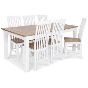 Skagen matgrupp - 180 cm Bord inklusive 6 st Herrgård Vindö stolar med sits i ekbets - Vit/Ekbets