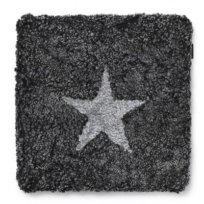 Curly stolsdyna fårskinn - Mörkgrå/silvergrå