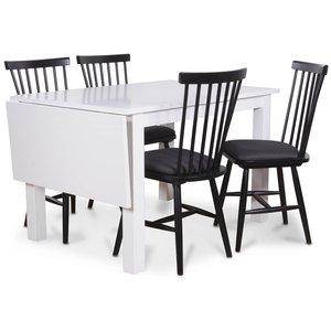 Sander matgrupp, Klaffbord med 4 st Småland Pinnstolar - Vit/Svart