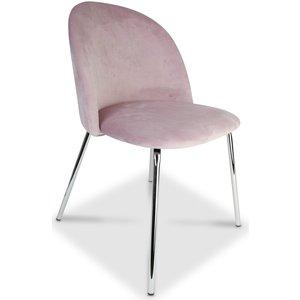 Giovani velvet stol - Rosa/Krom