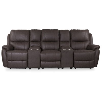Enjoy Hollywood Biosoffa - 3-sits recliner (el) i brunt microfibertyg