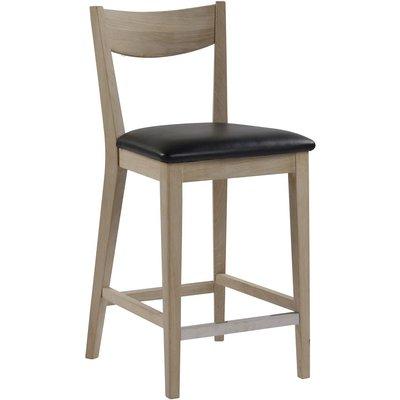 Kinley barstol - Whitewash ek/svart konstläder
