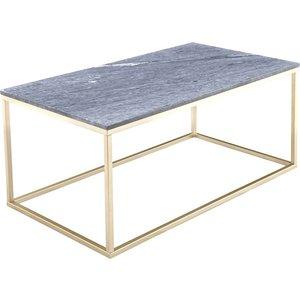 Accent soffbord 110 - Grå marmor / Mässingsfärgat underrede