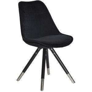 Orso stol med svart sammet - Svartbetsad ek krom