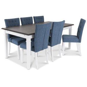 Ramnäs Matgrupp 180 cm med 6 st Crocket stolar med Blått tyg