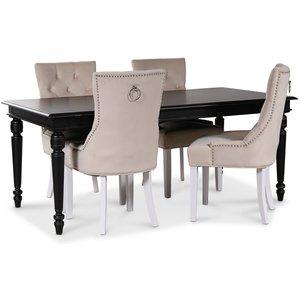Paris matgrupp svart bord med 4 st Tuva Decotique stolar i beige sammet
