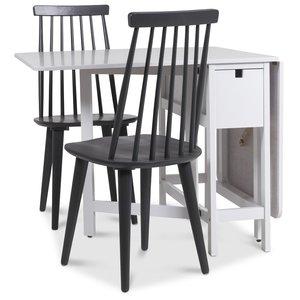 Marie matgrupp Klaffbord med 2 st gråa Dalsland pinnstolar