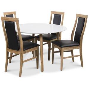 Rosvik matgrupp Runt bord vit/ek med 4 st Jasmine stolar