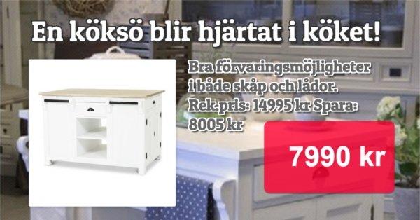 Drottningholm köksö - Vit / Grå 6990 kr