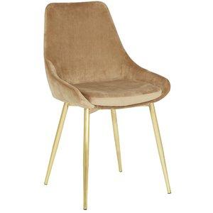 Theo stol - Beige sammet guldfärgade ben