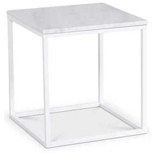 Accent lampbord 50x50 cm - Vit marmor / Vit
