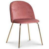 Giovani velvet stol - Korallrosa / Mässing