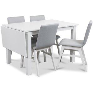 Sander matgrupp, Bord med klaff och 4 st Molly matstolar i ljusgrå klädsel