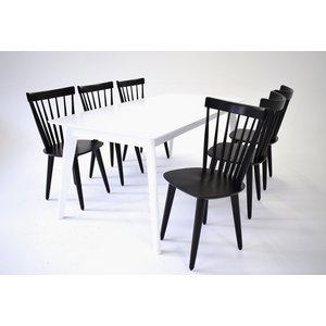 Sarek matgrupp - Bord inklusive 6 st stolar - Vit / svart