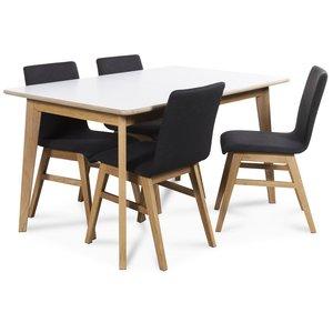 Holger matgrupp 140 cm bord med 4 st Molly matstolar i mörkgrått tyg