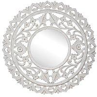 Carve rund spegel 60 cm - Antikvit