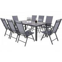 Utematgrupp Ibiza bord med 8 st positionsstolar - Grå/mörk grå